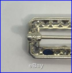 14k White Gold Vintage Diamond and Blue Sapphire Brooch Pin
