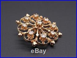 14k Yellow Gold 1ct Round Diamond Circle Flower Brooch Pin