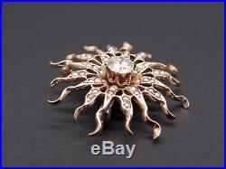 14k Yellow Gold. 60ct Diamond Seed Pearl Spray Circle Flower Brooch Pin Pendant
