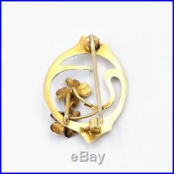 14k Yellow Gold Antique Art Nouveau Flower Motif Brooch/Pin