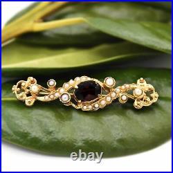 14k Yellow Gold Antique Ornate Swirl Garnet & Pearl Pin/Brooch