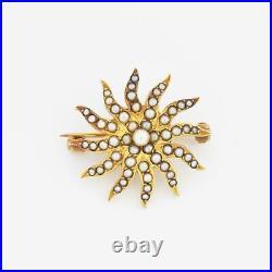 14k Yellow Gold Antique Seed Pearl Sunburst Pin/Brooch