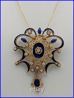 14k Yellow Gold Diamond Enamel Brooch Pin Pendant Necklace