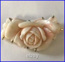 14k Yellow Gold Huge Carved Angel Skin Pink Natural Coral Rose Brooch/Pin, 35.4g