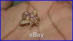 14k Yellow Gold Ladies Natural Ruby and Diamond Bumble Bee Pendant Brooch Pin