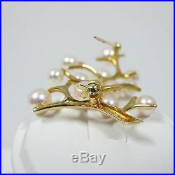 14k Yellow Gold MIKIMOTO Cultured PEARL Tree of Life Vintage Brooch/Pin DESIGNER