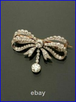 14k Yellow Gold Over Victorian 3.12carat Round And Cut Diamond Bow Brooch Pin