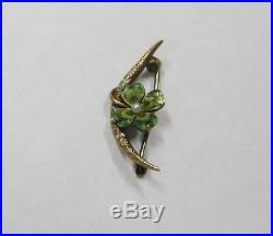 14k Yellow Gold Vintage Art Nouveau With Pearl 4 Leaf Clover Pin Brooch N595-u