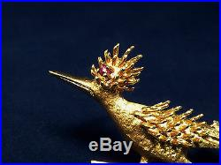 14k Yellow Solid Gold Roadrunner Bird Brooch Pin Red Ruby Earth-cuckoo beep beep