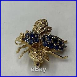 14k yellow gold 3D bumble bee brooch pin natural blue sapphires figural pendant