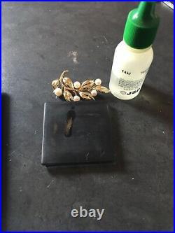 14k yellow gold pearl pin brooch 585 not scrap 8.19 grams