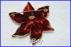 $175 NEW JAY STRONGWATER Sonia Daffodil Flower Pin Brooch Golden Enamel CRYSTAL