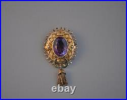 1800s Antique Victorian 14k Solid Gold Amethyst & Seed Pearl Flower Brooch Pin