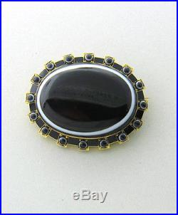 1870s Victorian Banded Agate Enamel 15k Gold Brooch Pin