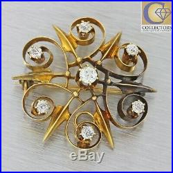1880s Antique Victorian 14k Solid Yellow Gold. 85ctw Diamond Pendant Brooch Pin