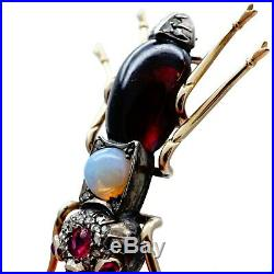 1890 FABERGE Era Romanov Imperial Russian 56 Gold Diamond Ruby Chased Brooch Pin
