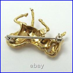 18K Gold 750 Italy 3D Trotting Prancing Horse Pin Brooch 7gr
