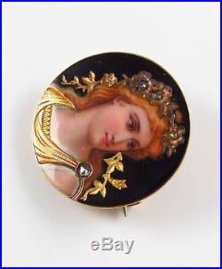 18K Gold Antique Swiss Enamel Goddess Diana Portrait Rose Cut Diamond Brooch Pin