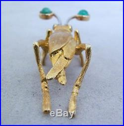 18K Gold Cricket Brooch / Pin with Emeralds & Sapphires (1.75 long & 8.2 grams)