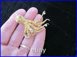 18K Gold Pin Brooch Octopus Emerald Diamond Ocean Seashore Not Scrap 16.4 Grams