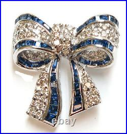 18K Solid White Gold Genuine Sapphire=0.45 cts and Diamond=0.74 carats Bow Pin