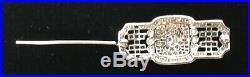 18K White Gold Emerald and Diamond Art Deco Brooch Pin