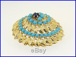 18K Y Gold Blue Sapphire Turquoise Cabochon Vintage 1950s Brooch Pin Pendant