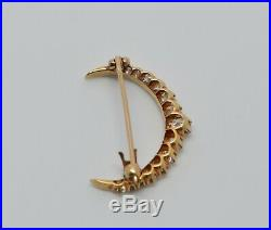 18K Yellow Gold Diamond Crescent Brooch/Pin with Old Mine Cut Stones, Circa 1900