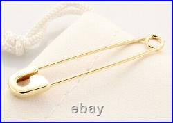 18K Yellow Gold Safety Pin Handmade in USA (1.5'')