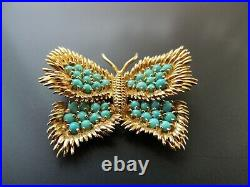 18K Yellow Gold Tiffany Turquoise Butterfly Brooch Pin