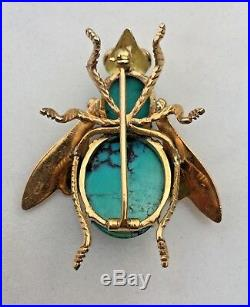 18K Yellow & Rose Gold Turquoise Bee Brooch Pin 14.9 g