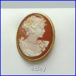 18k Gold 750 Italy Carved Shell Cameo Brooch Pin Pendant 4gr