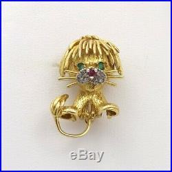 18k Gold Hammerman Brothers Emerald Ruby Diamond Baby Lion Brooch Pin 9.3gr