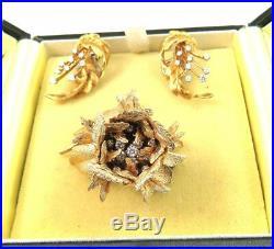 18k Gold Robert Altman. 7ct Diamond Spray Leaf Earrings Matches Brooch Pin 13g