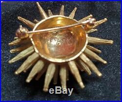 18k Solid Gold 12.38g Sea Urchin Diamond Brooch, Pin