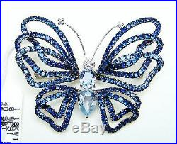 18k Solid White Gold Genuine Diamond & Blue Sapphire Butterfly Brooch Pin