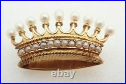 18k Solid Yellow Gold Antique Pearl Crown Tiara Brooch Pin