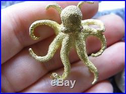 18k Textured Yellow Gold Octopus Marine Animal Diamond Ruby Pin Brooch Figural
