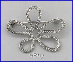 18k White Gold Diamond Brooch Pin