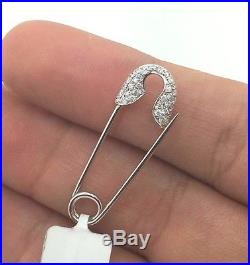 18k White Gold Small Baby Womans Diamond Safety Pin Needle Brooch Pendant Opens