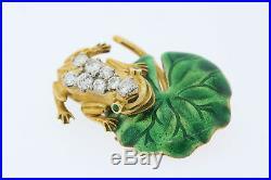 18k Yellow Gold 1ct Diamond. 06ct Emerald Green Enamel Frog Lily Pad Brooch Pin