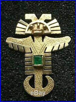 18k Yellow Gold Aztec God Emerald Bird Totem Charm Pendant Brooch Pin Mayan 750