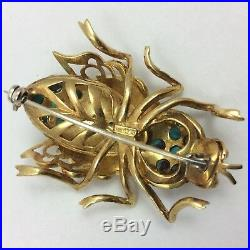 18k Yellow Gold Beetle Bug Brooch Pin Enamel Turquoise