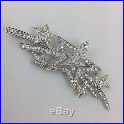 18k Yellow Gold Diamond Star Brooch Pin