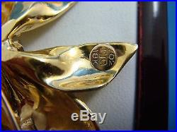 18k Yellow Gold Large Bow Pin-brooch With Genuine Diamonds 11.7 Grams High End