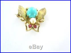 18k Yellow Gold Pin Brooch Rubies Pearl Turquoise Bee Insect Vintage Fly Antique