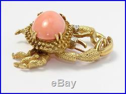 18k Yellow Gold Pink Coral and Diamond Crab Brooch Pin