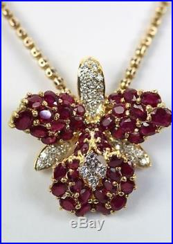 18k Yellow Gold Ruby 9.00 Cts Orchid & Diamond. 70 Vs Brooch Pin Necklace