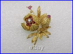 18k Yellow Gold Vintage Ruby Diamond Chestnut Brooch Pin Articulated Lb2121