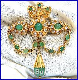 18kt Vintage Natural Emeralds & White Sapphires Medallion Dangle Brooch Pin